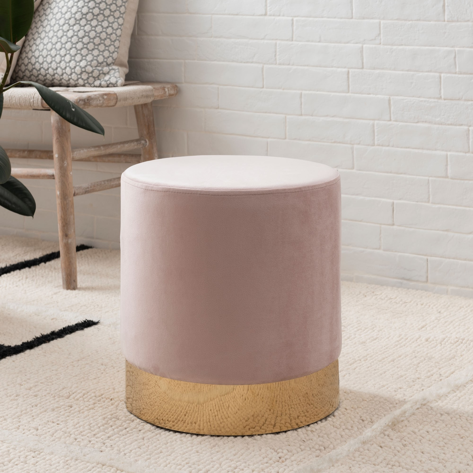 Picture of: Pink Velvet Footstool With Gold Base Footstools