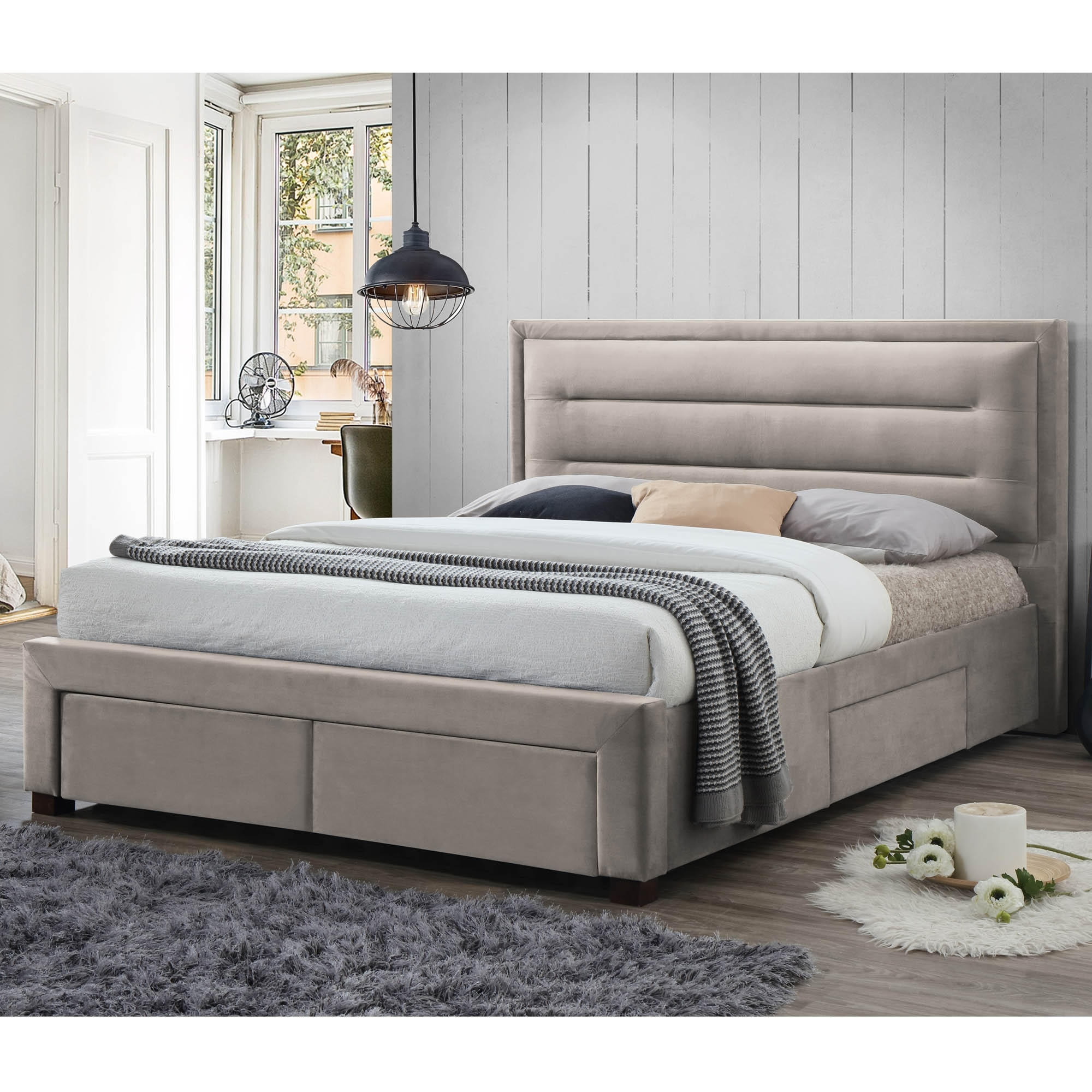 Pippa Champagne Fabric Bed Fabric Homesdirect365