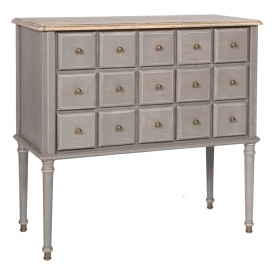 Poitiers Grey Shabby Chic 15 Drawer Chest