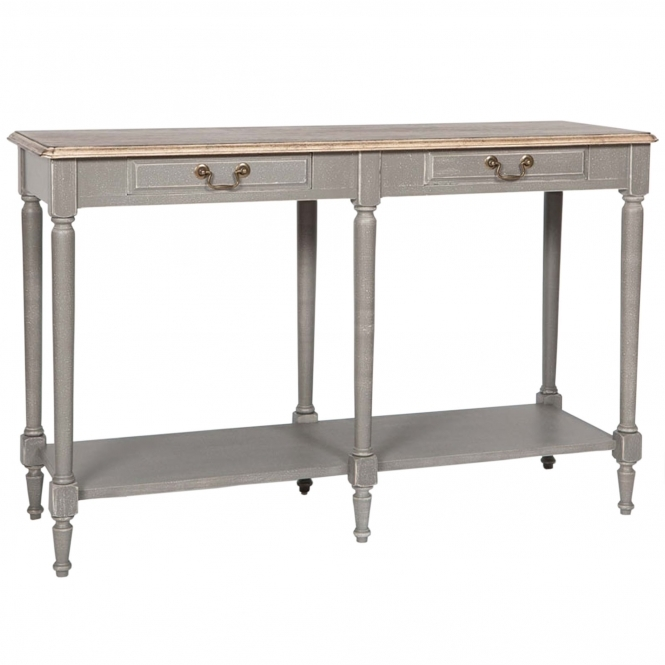 Poitiers Grey Shabby Chic 2 Drawer Large Console Table
