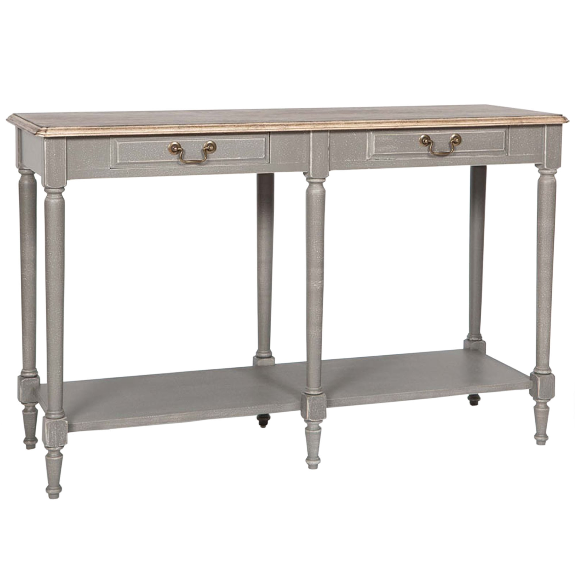 Poitiers grey shabby chic drawer large console table