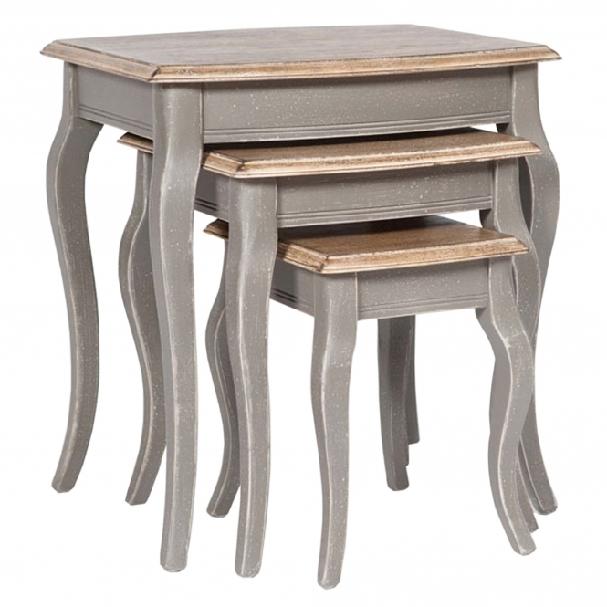 Poitiers Grey Shabby Chic Nest of 3 Tables