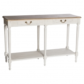 Poitiers White Shabby Chic 2 Drawer Large Console Table