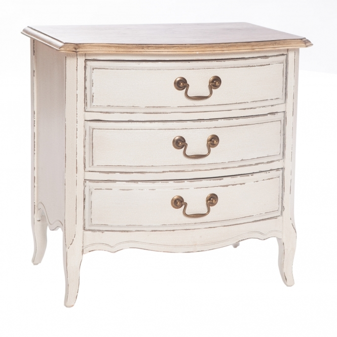 Poitiers White Shabby Chic 3 Drawer Bedside Table