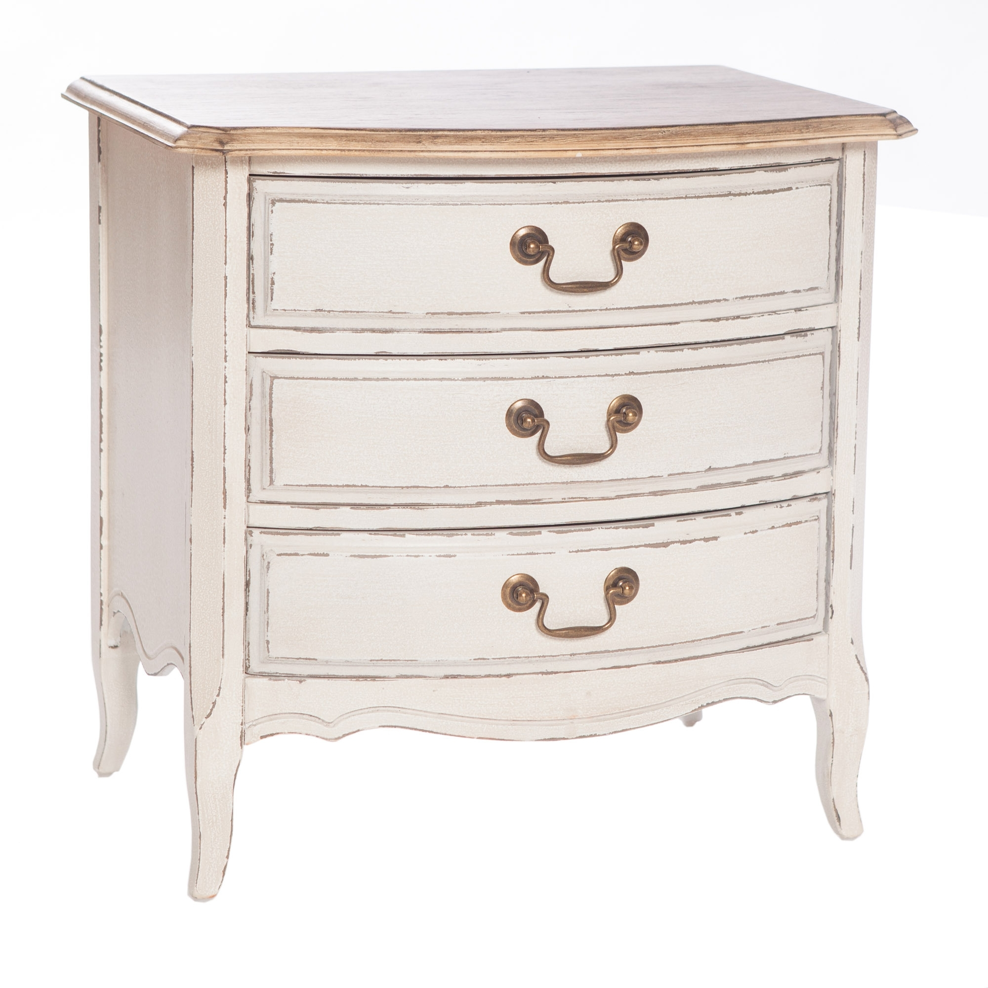 poitiers white shabby chic 3 drawer bedside table bedroom hd365 rh homesdirect365 co uk