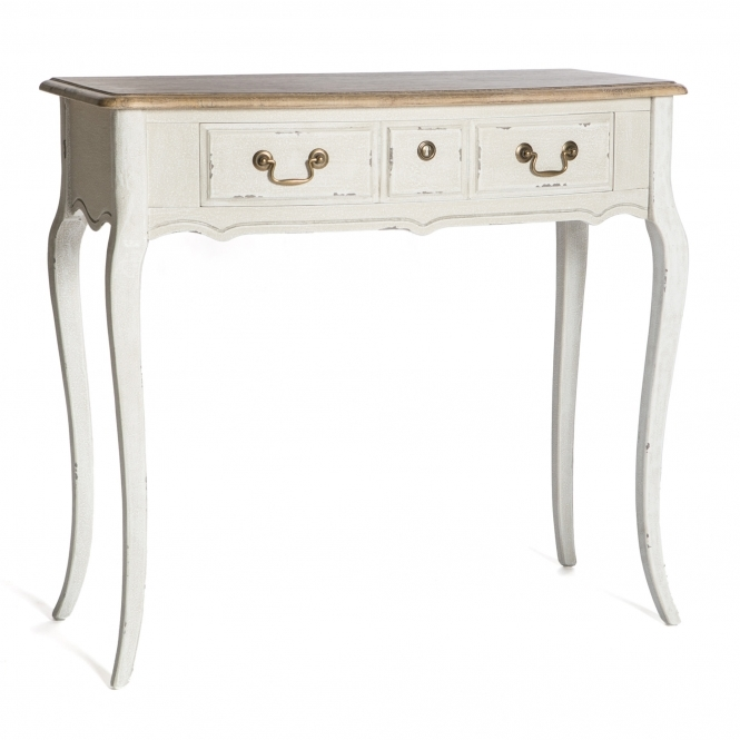 Poitiers White Shabby Chic 3 Drawer Dressing Table