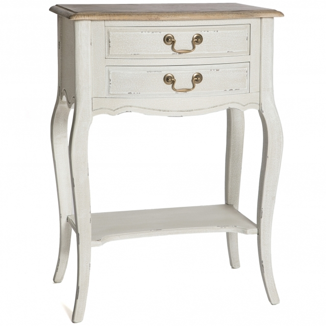 Poitiers White Shabby Chic Bedside Table