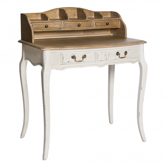 Poitiers White Shabby Chic Dressing Table w/ Shelf