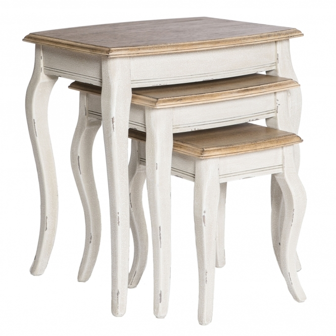 Poitiers White Shabby Chic Nest of 3 Tables