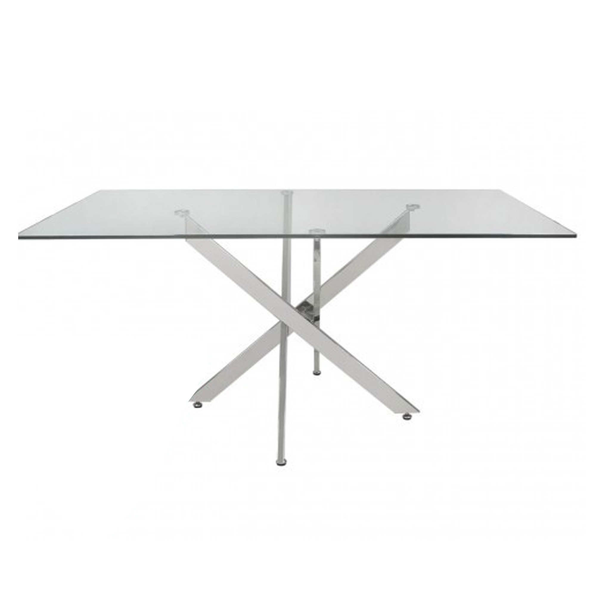 Picture of: Prato Rectangular Glass And Chrome Dining Table Modern Dining Furniture