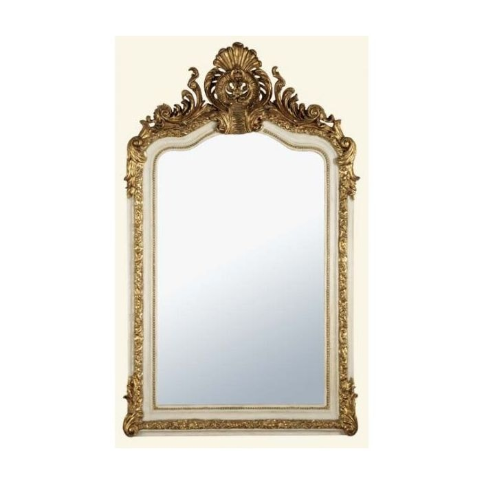 Antique french style white gold decorative wall mirror for Antique style wall mirror