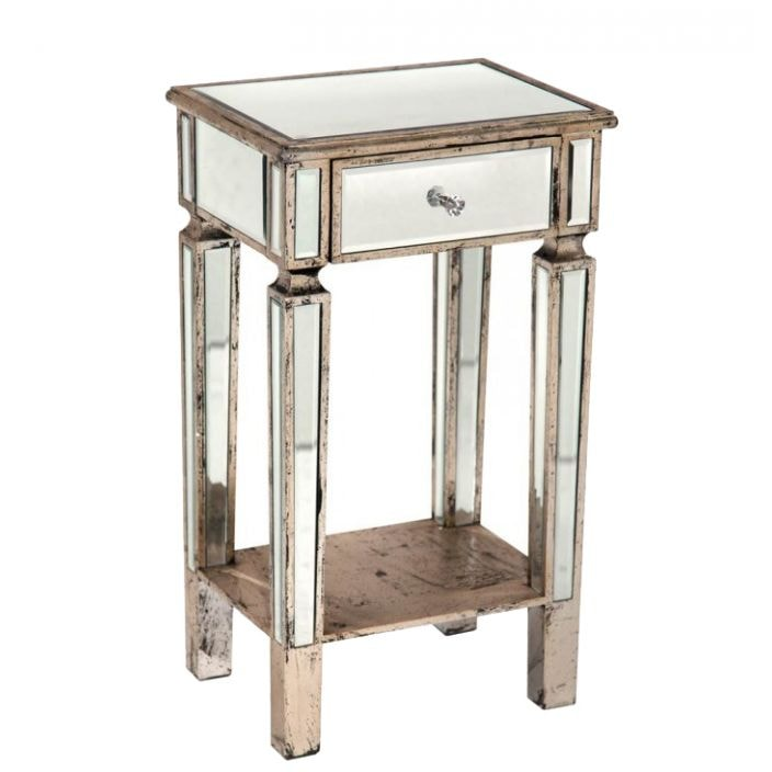 Mirrored bedside cabinet venetian glass furniture for Mirror bedside cabinets