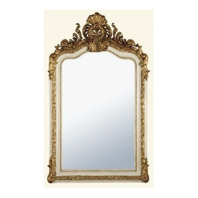 Antique french style white gold decorative wall mirror for Antique looking wall mirrors