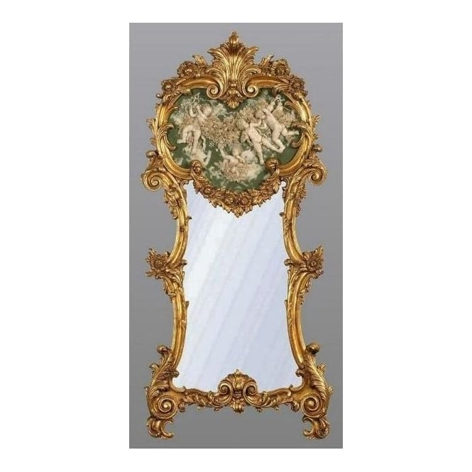 Antique french style gold mirror with green white marble for White and gold mirror
