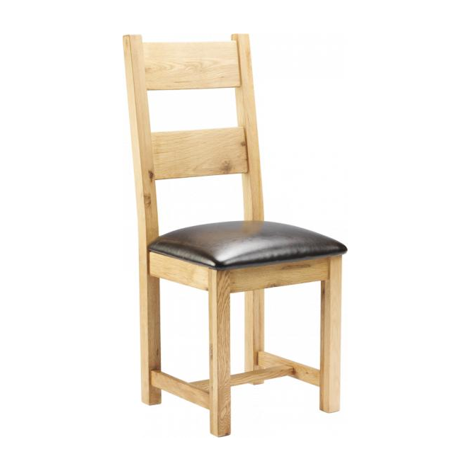 Chunky Oak Padded Dining Chair