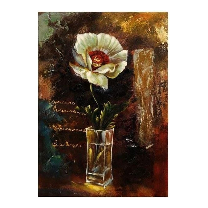 Hand Painted White Flower In Bloom Canvas