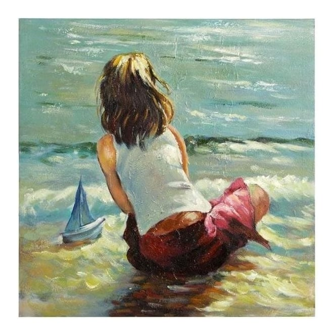 Girl At Water Edge Painting