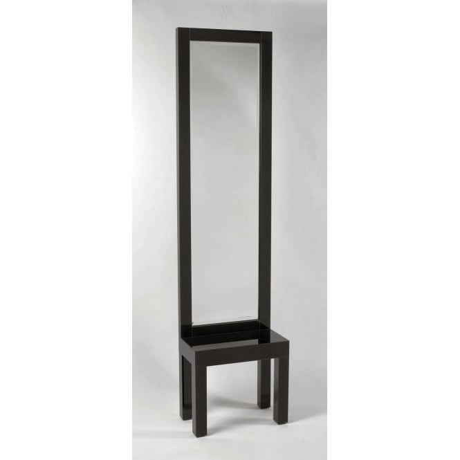 Black Glass Mirror Hall Stand