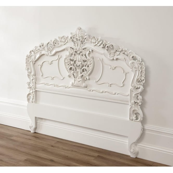 White Rococo Antique French Style Headboard
