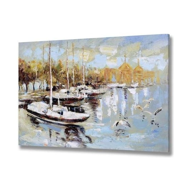 Cloudy Day Boat Handpainted Canvas