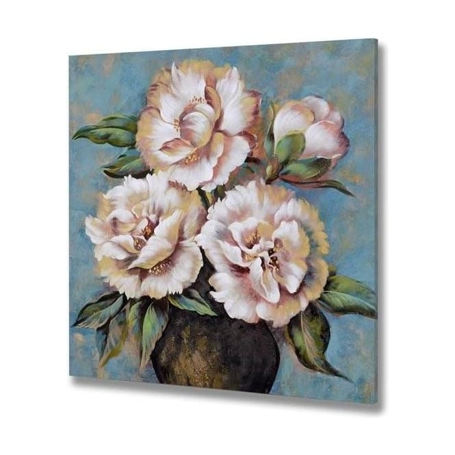Pink And Blue Flower Hand Painted Canvas 1