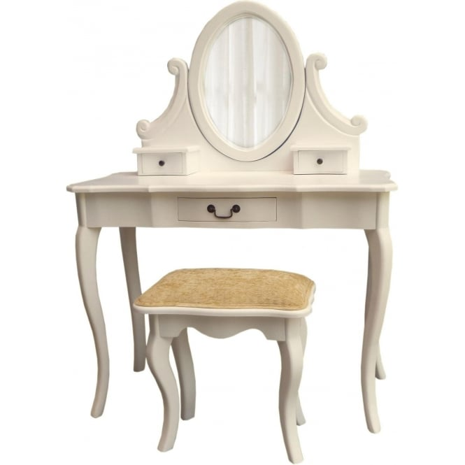 Ivory Antique French Style Dressing Table Set