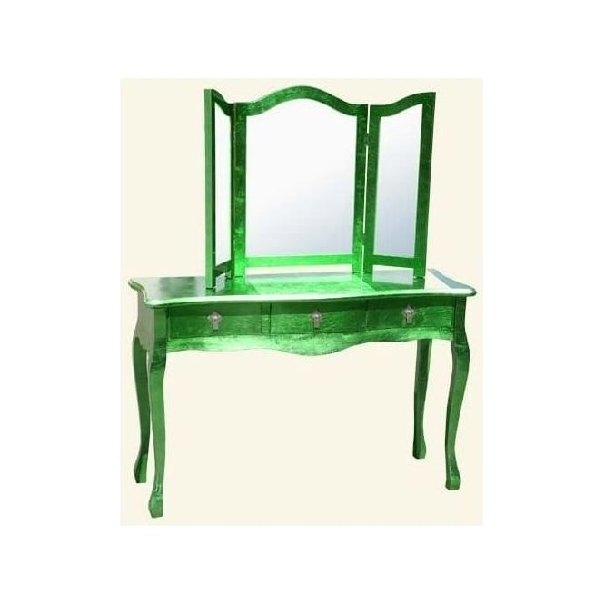 High Gloss Green Antique French Style Dressing Table