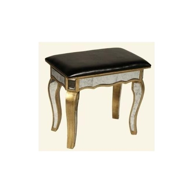 Gold Sassari Mirrored Dressing Table Stool