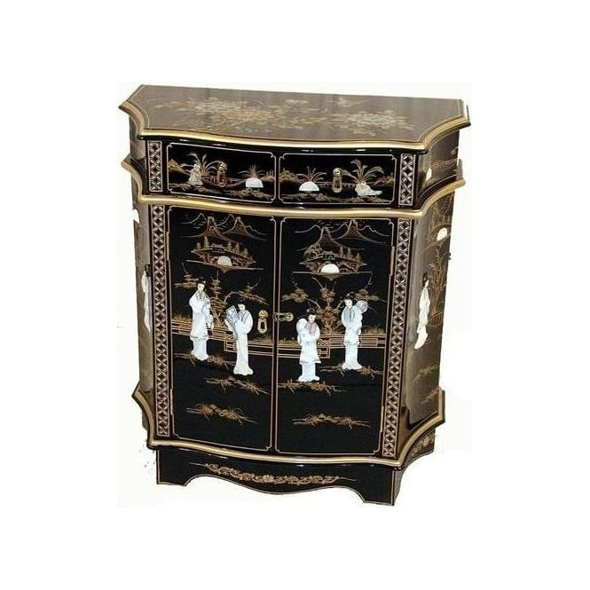 Shaped Lacquer Cabinet w/ Mother of Pearl