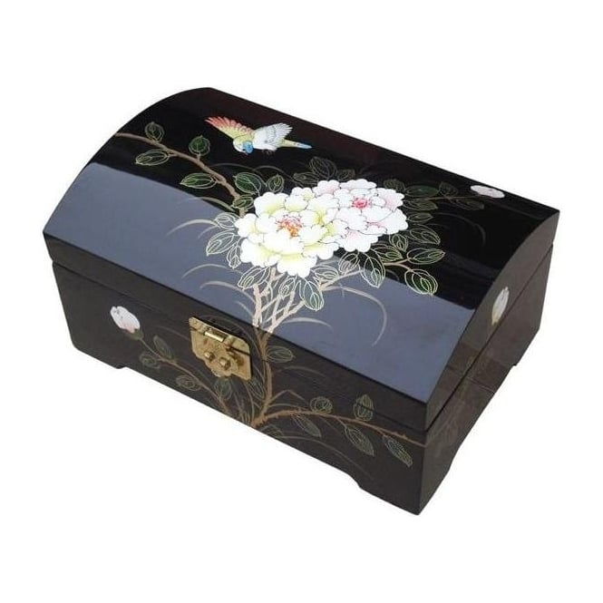 Black Lacquer Jewellery Box with Chinese Lock