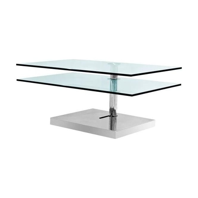 2 Tier Swivel Glass Coffee Table