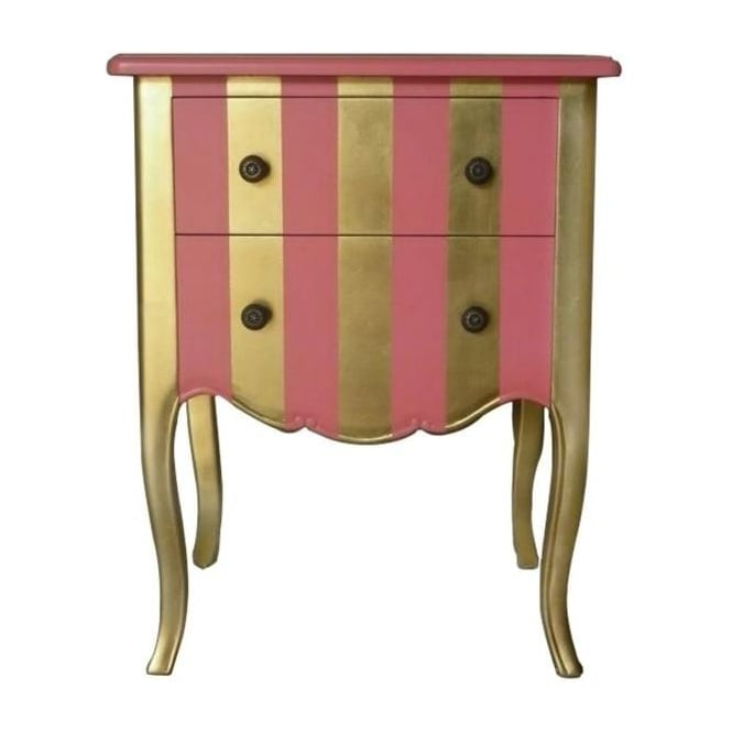 Gold & Pink Antique French Style Bedside Table