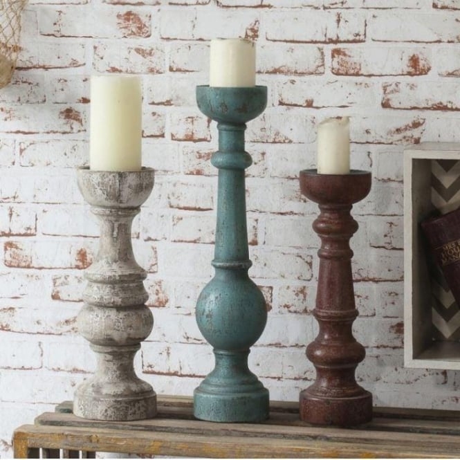 Hermitage Shabby Chic Candlestick (Pack Of 4)