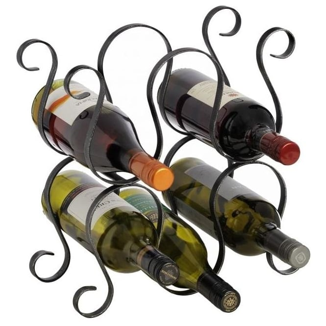 Five Wine Bottle Rack with Brushed Finish