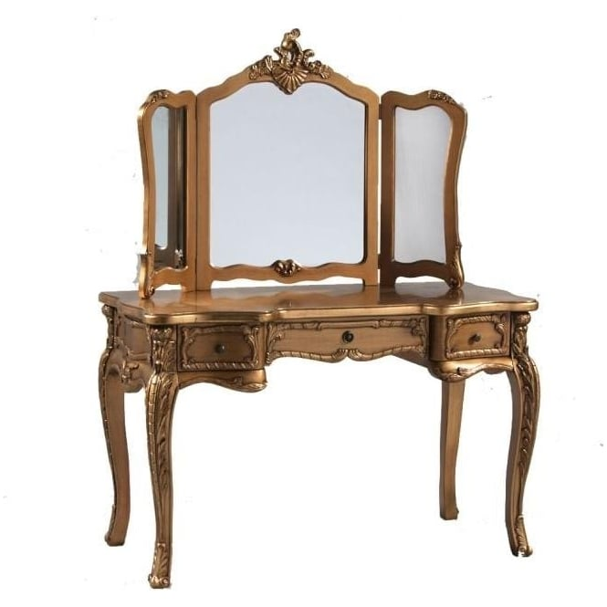 Gold Antique French Style Dressing Table