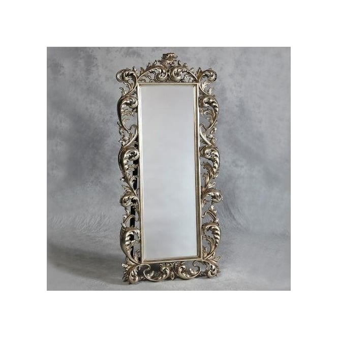 Silver Rococo Antique French Style Cheval Mirror