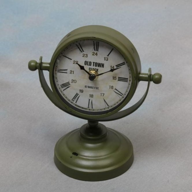 Green Vintage Metal Shabby Chic Clock