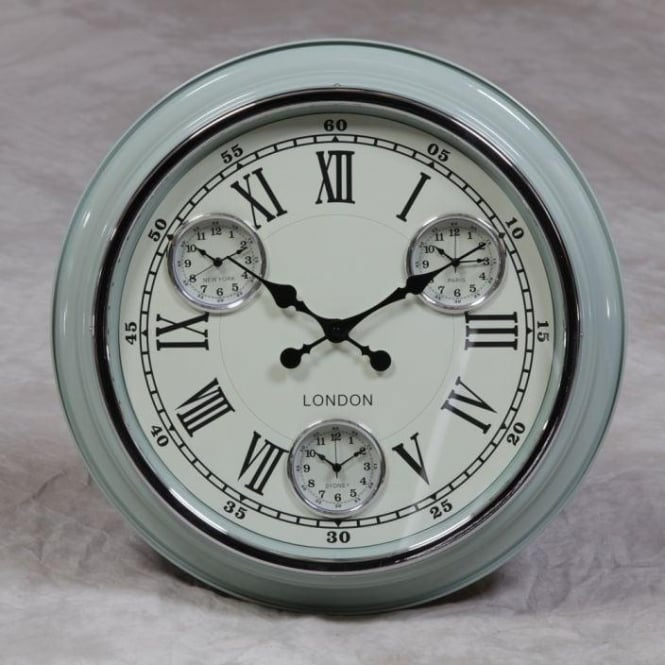 """London"" Retro Light Blue Clock"