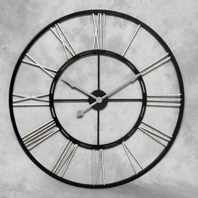 Large Iron Black & Silver Wall Clock