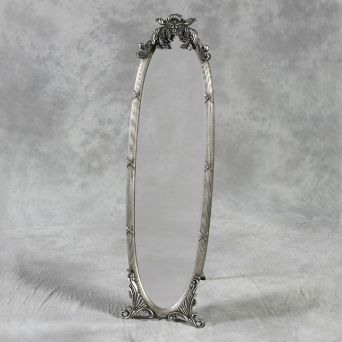 Silver Antique French Style Cheval Mirror