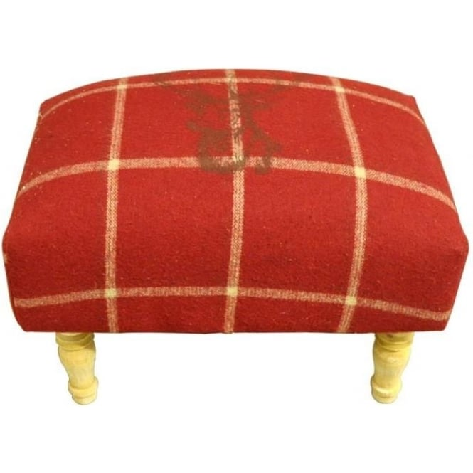 Red Checked Stags Head Footstool