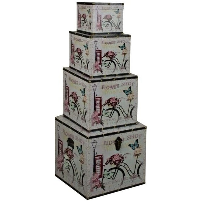 Flower Shop Set Of Four Storage Boxes