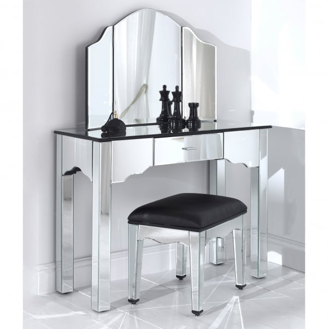 Venetian Mirrored Dressing Table Set With Stool
