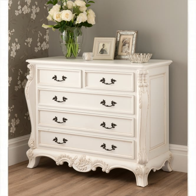 La Rochelle Antique French Style Chest Whiter Bedroom Furniture