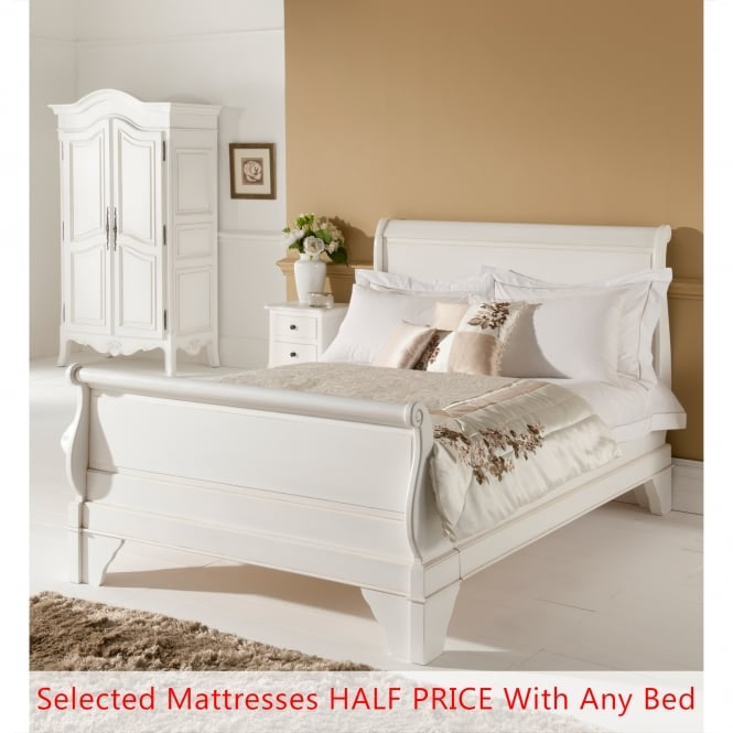 Paris Antique French Style Sleigh Bed (Size: Super King) + Mattress - Bundle Deal