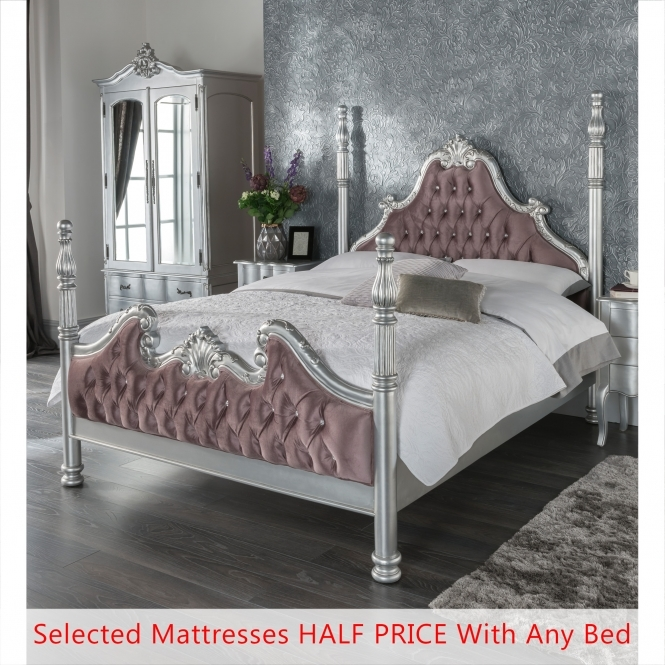 Kingsize Estelle Silver Four Poster Antique French Style Bed - Half Price Mattress Bundle