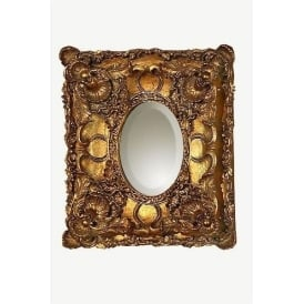 Antique French Style Gold Double-Frame Oval Mirror