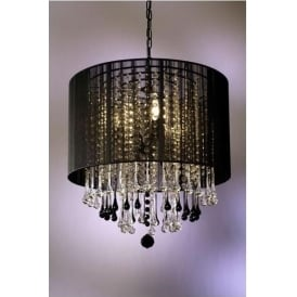 Black & Clear Crystal Antique French Cut Glass Chandelier