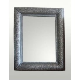 Chaandhi Kar Black-Silver Embossed Rectangular Wall Mirror