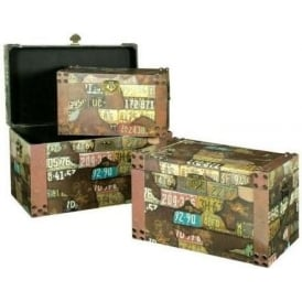 Set of 3 Travel Print Trunks